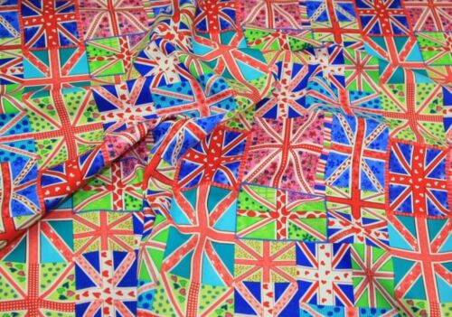 Royal Blue Union Jack Flags 100/% Cotton Fabric Material  sold by HALF METRE