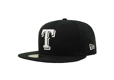 New Era 59Fifty Baseball Cap Texas Rangers Black White Fitted 5950 Hat Big Sizes