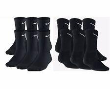 PACK OF 6 PAIRS NIKE MEN'S CUSHIONED CREW SOCKS - BLACK - LARGE (Shoe Size 8-12)