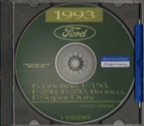 F150-F350 /& Super Duty Pick Up Truck Shop Manual CD Econoline FORD 1993 Bronco