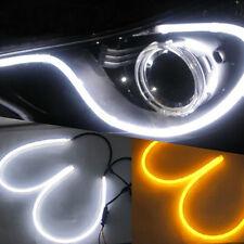 New 45cm White Amber LED Strip Flexible DRL Daytime Running Light 2 PC
