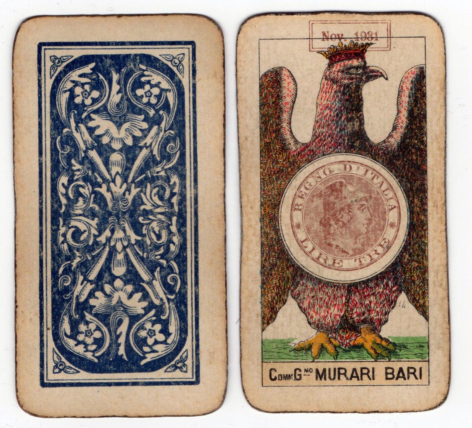 Figura intera MURARI Regno d'Italia Bollo 1931 carte da gioco old playing cards