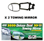 2 x Maypole Universal Deluxe Dual Wing Convex /& Flat Glass Towing Mirror MP8326