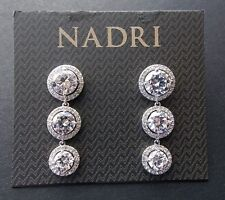 c7cf9f21f Nadri Triple Cubic Zirconia Round Halo Drop Dangle Earrings Bridal Wedding