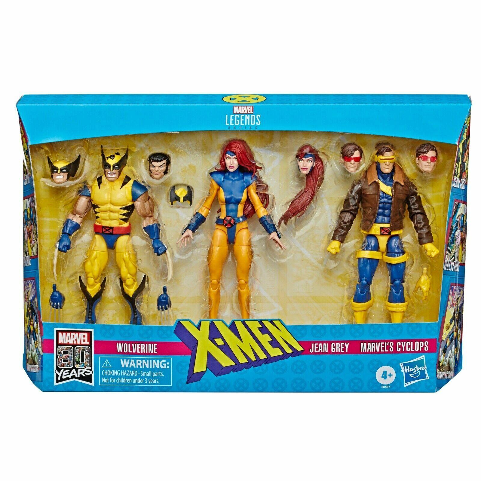 Marvel Legends XMen Wolverine Jean grigio & Ciclope 3 Pack triangolo amoroso Regno Unito Nuovo con Scatola