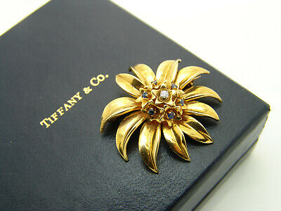 Tiffany & Co. Brosche Blume in 18K Gelbgold mit Diamant & Saphiren + Box   eBay