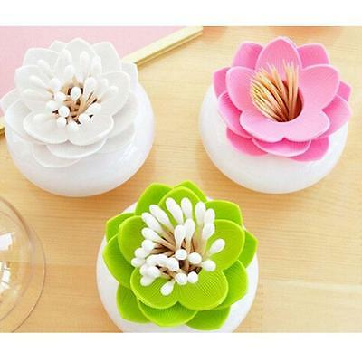 Lotus Flower Cotton Bud Holder Toothpick Case Cotton Swab Box Cup Home Decor S