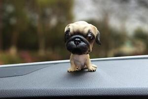 Pug-Dog-Figurine-Bobbing-Bobble-Head-Doll-Toy-Car-Home-Ornaments-Decor-US