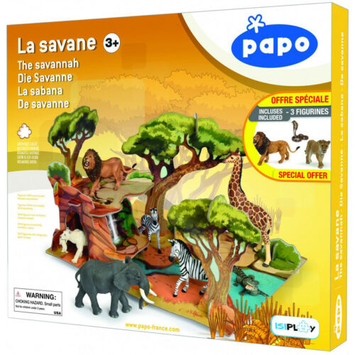 Papo Animaux Sauvages Uni LA SAVANE Playset /& 3 Figures 80007-New