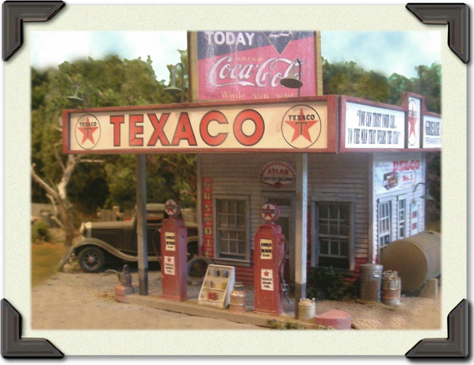 BAR MILLS BUILDINGS 104 O Bud Smiley's Texaco Station Modelll Railroading Kit