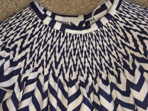 READY TO SMOCK NAVY BLUE CHEVRON PRINT BISHOP DRESS SIZES 3MOS TO 6T