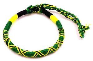 Bracelet Brésilien Amitié Macramé Coton Vœu porte Bonheur noir vert jaune rasta