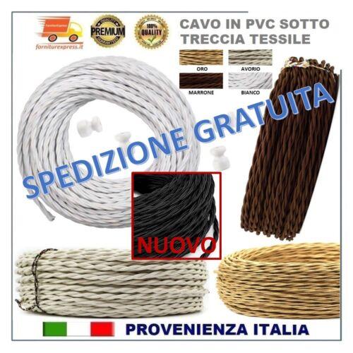 CAVO ELETTRICO TRECCIA IN PVC SOTTO TESSUTO VINTAGE 3x1,5 mm² ISOLATORI SCATOLE