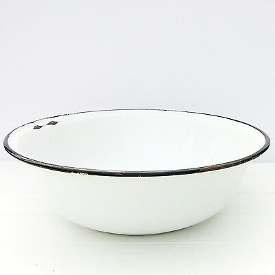 Vintage Large White Enamel Wash Bowl
