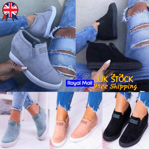 casual shoes sale good looking Ladies Womens Inner Heel Wedge Sneakers Trainers Casual Slip On ...