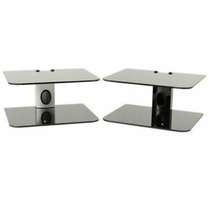 DUAL-GLASS-2-TIER-SHELF-WALL-MOUNT-UNDER-TV-CABLE-BOX-COMPONENT-DVR-DVD-BRACKET