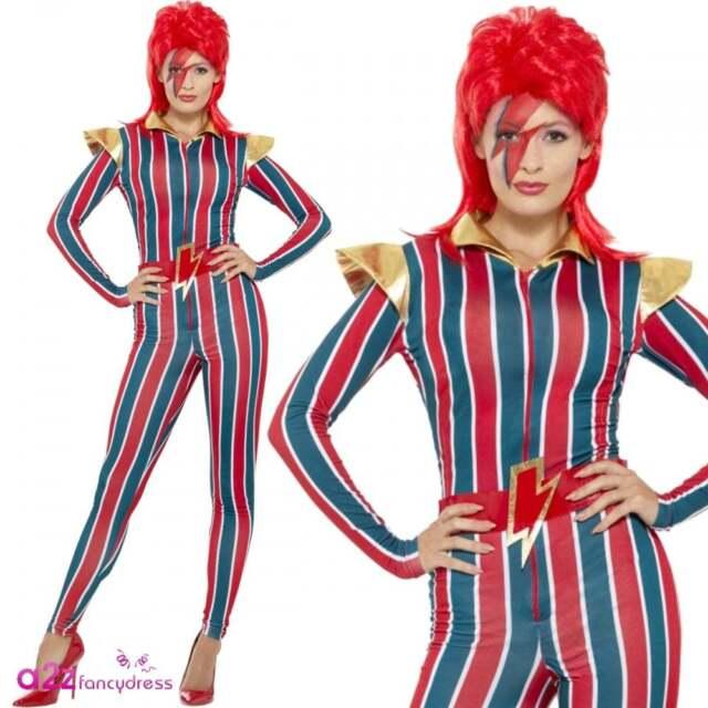 dce2e1a5ba4 Miss Superstar Space Costume - Fancy Dress Bowie Womens Ziggy ...