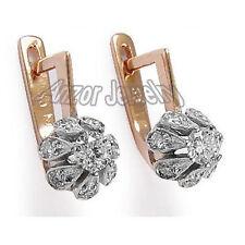RUSSIAN JEWELRY 14K ROSE & WHITE GOLD 1.10 CWT DIAMOND MALINKA EARRINGS #E810