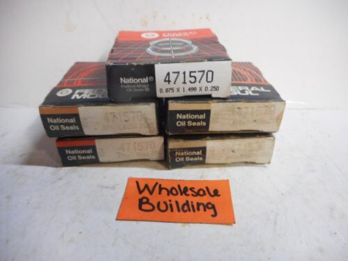 """SHAFT: .875/"""" 471570 W: .250/"""" LOT OF 5 OD: 1.499/"""" OIL SEAL NATIONAL"""