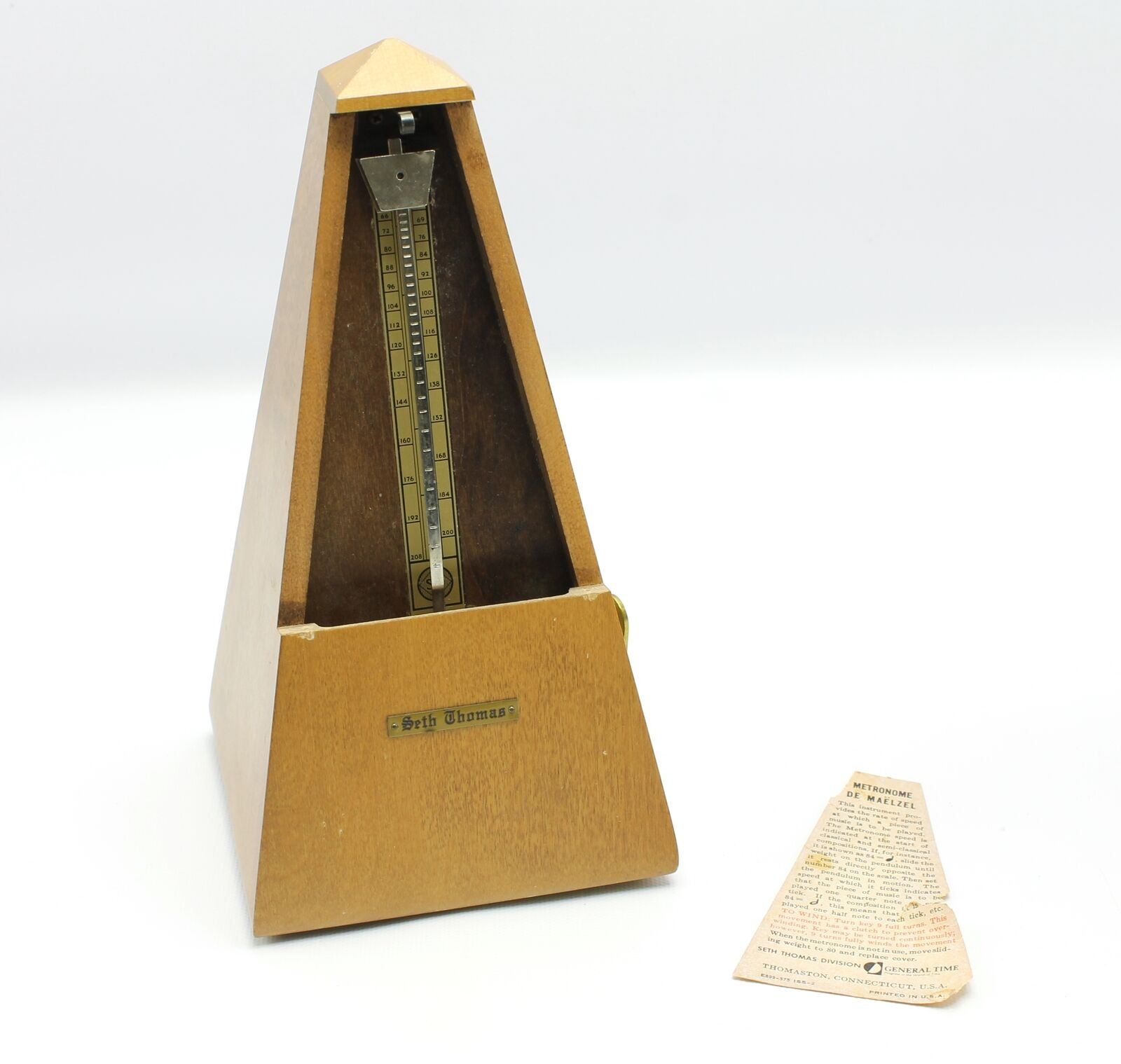Vintage Seth Thomas Wood Windup Metronome De Maelzel E873-006  10