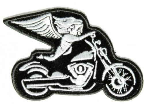 "3788//9 3.75/"" x 2.5/"" PINK or WHITE BIKER ANGEL on MOTORCYCLE iron on patch"