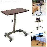 Rolling Laptop Table Adjustable Cart Tray Wheels Desk Usb Couch Chair Computer