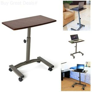 Image Is Loading Rolling Laptop Table Adjustable Cart Tray Wheels Desk