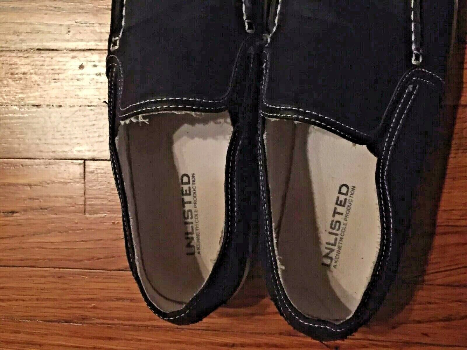 Men's Kenneth Cole Slip on Deck Shoes Boat Shoes 9.5 Loafers Navy Blue Press