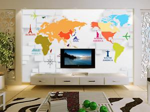 3D Unique World Map 86 Wall Paper Murals Wall Print Wall Wallpaper Mural AU Kyra