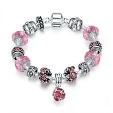 Pink Crystal Heart Charm Bracelet for Women Stainless Steel Gift 7-8 Ct 0.76