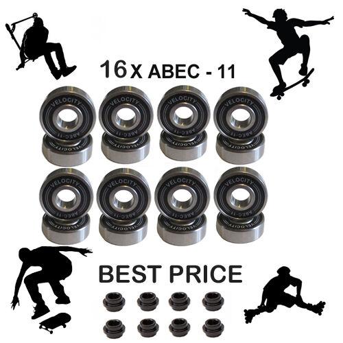 16 ABEC 11 Ruota Cuscinetti Distanziatore Stunt Scooter Roller Skate Inline Skateboard 9