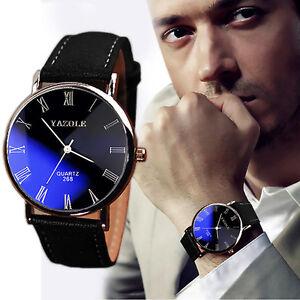 YAZOLE-Retro-Herren-Leder-Sport-Armbanduhr-Blue-Ray-Glas-Quarz-Analog-Watch-NEU