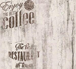 Dettagli su Carta da Parati per cucina | Caffè Legno Marrone su Bianco