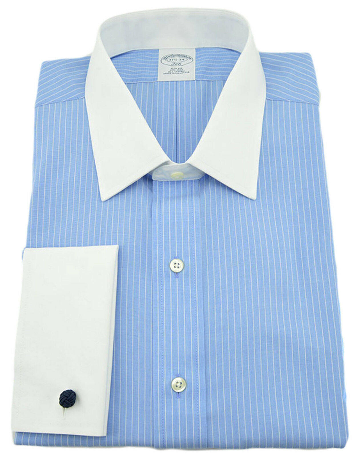150 BROOKS BROTHERS Blau Weiß Striped French Cuffs  Herren Shirt NEW COLLECTION