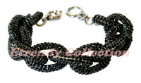 Clearance - Black Chunky Pave Classic Link Chain Bracelet W/1,500+ Crystals