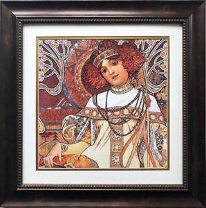 Alphonse Mucha The Seasons Autumn 1900 Detail Custom Framed Art Nouveau Ebay