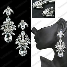 CLIP ON BIG CHANDELIER EARRINGS rhinestone CRYSTAL vintage chic LARGE CLIPS