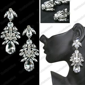 Image Is Loading Clip On Chandelier Earrings Rhinestone Crystal Vintage
