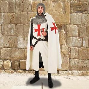 Halloween gift-Medieval Templar Cloak in White Color Cotton//exp.ship.