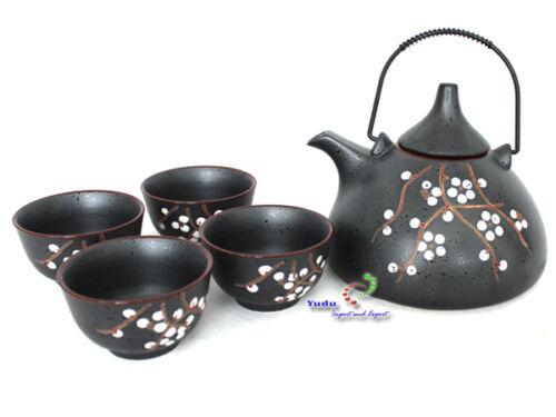 Teeseservice Set Asia Tee Set Teekanne und 4 Teetassen grau