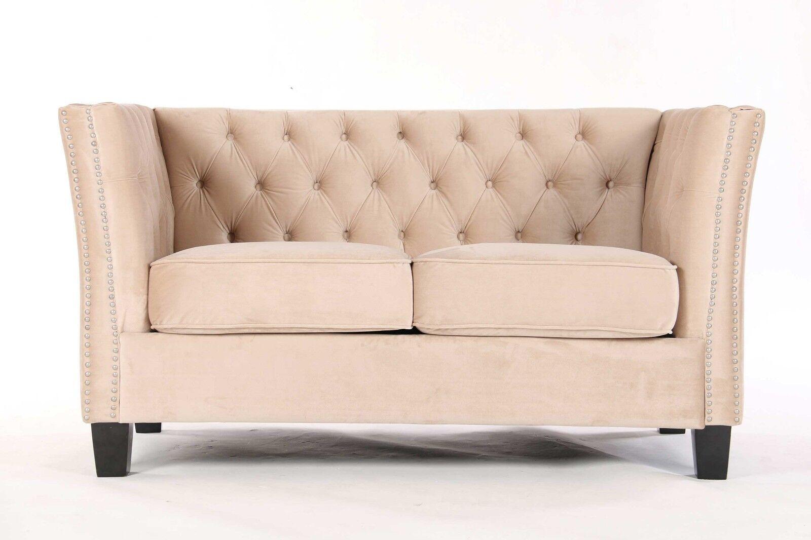 2 Seater Velvet Sofa Mink Or Grey