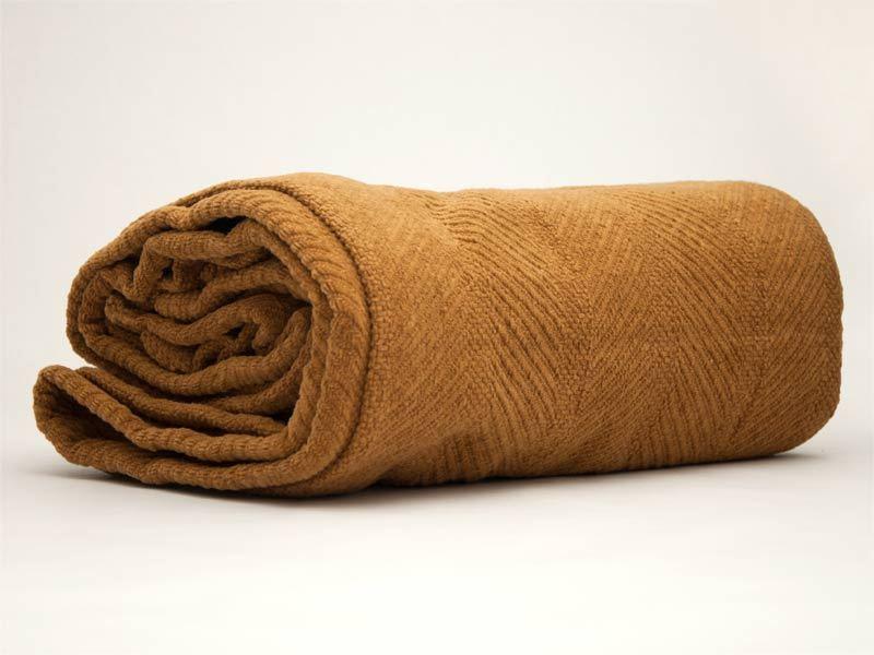 Queen Blanket Tan Brown Organic Cotton Herringbone Chenille Buffalo USA Natural