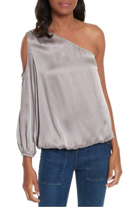 New Joie Abatha One-Shoulder Silk Top Größe Medium MSRP