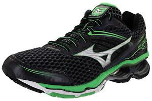 Mizuno-Wave-Creation-17-Mens-Size-9-Medium-Width-Running-Shoe-Black-Green-Silver