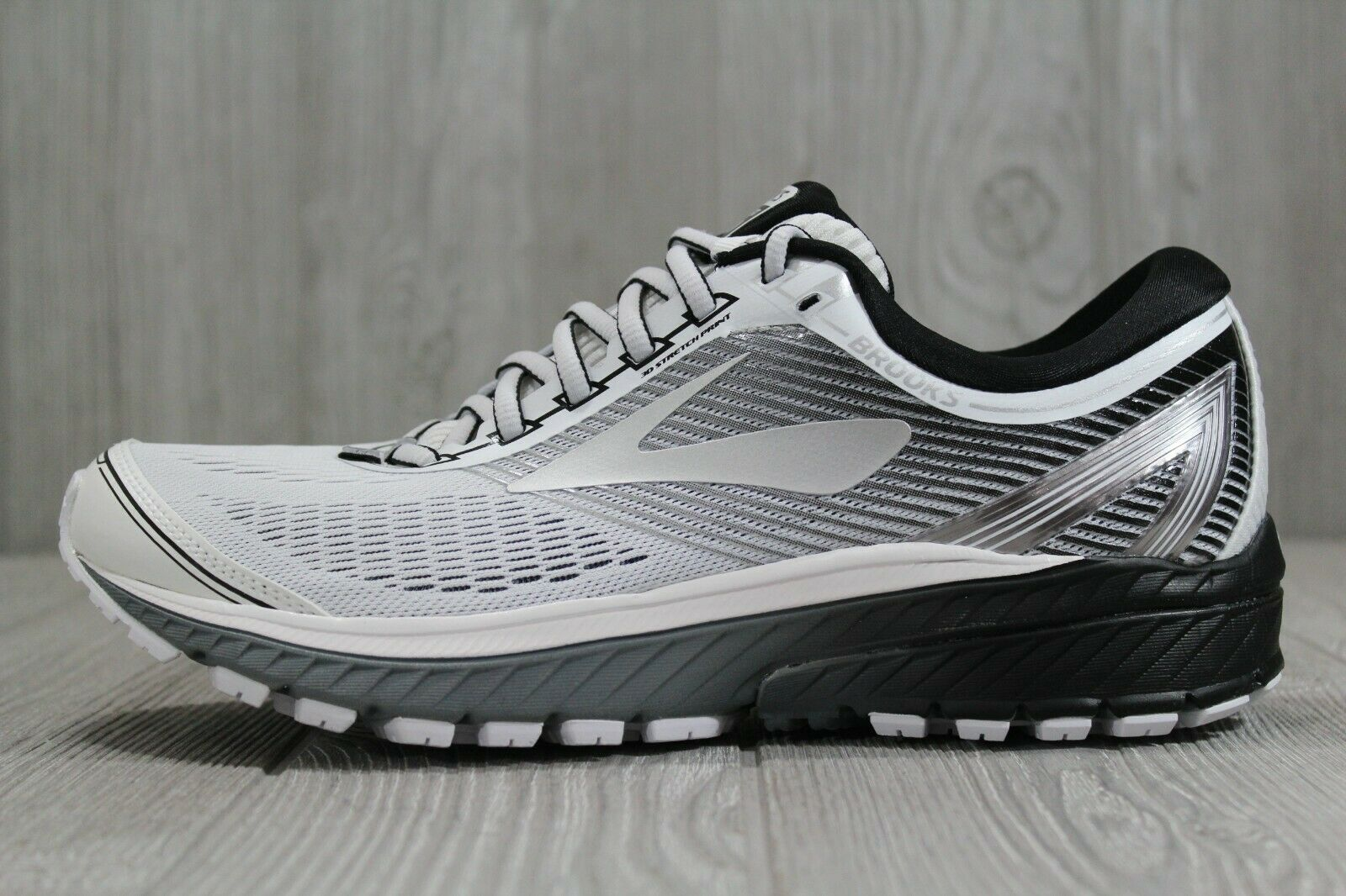 38 Brooks Ghost 10 Mens Athletic Running Sneaker grey Ebony Silver Size 8, 8.5