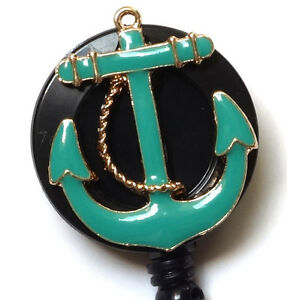 Retractable-ID-badge-holder-reel-TURQUOISE-ANCHOR