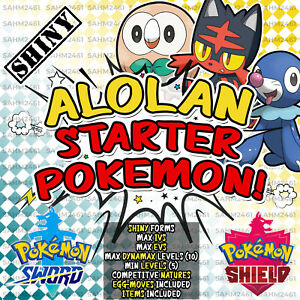 POKEMON-SPADA-E-SCUDO-tutte-le-3-Shiny-alolan-Starters-6IV-livello-5