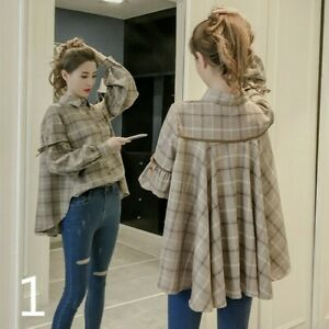 Lady-Puff-Sleeve-Shirt-Houndstooth-Plaid-Blouse-Peplum-Top-Loose-Retro-Casual