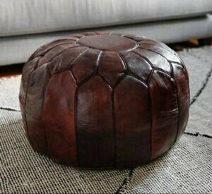 SALE Moroccan Genuine Leather Boho Pouf Ottoman Footstool Pouffe Brown Tan