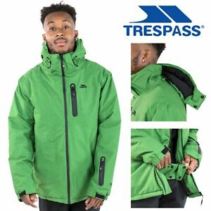 Trespass-Mens-Ski-Jacket-Waterproof-Snowboarding-Coat-With-Hood-Green